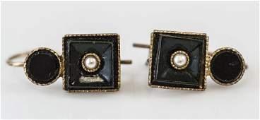 Pair of 19th C Victorian Seed Pearl Earrings