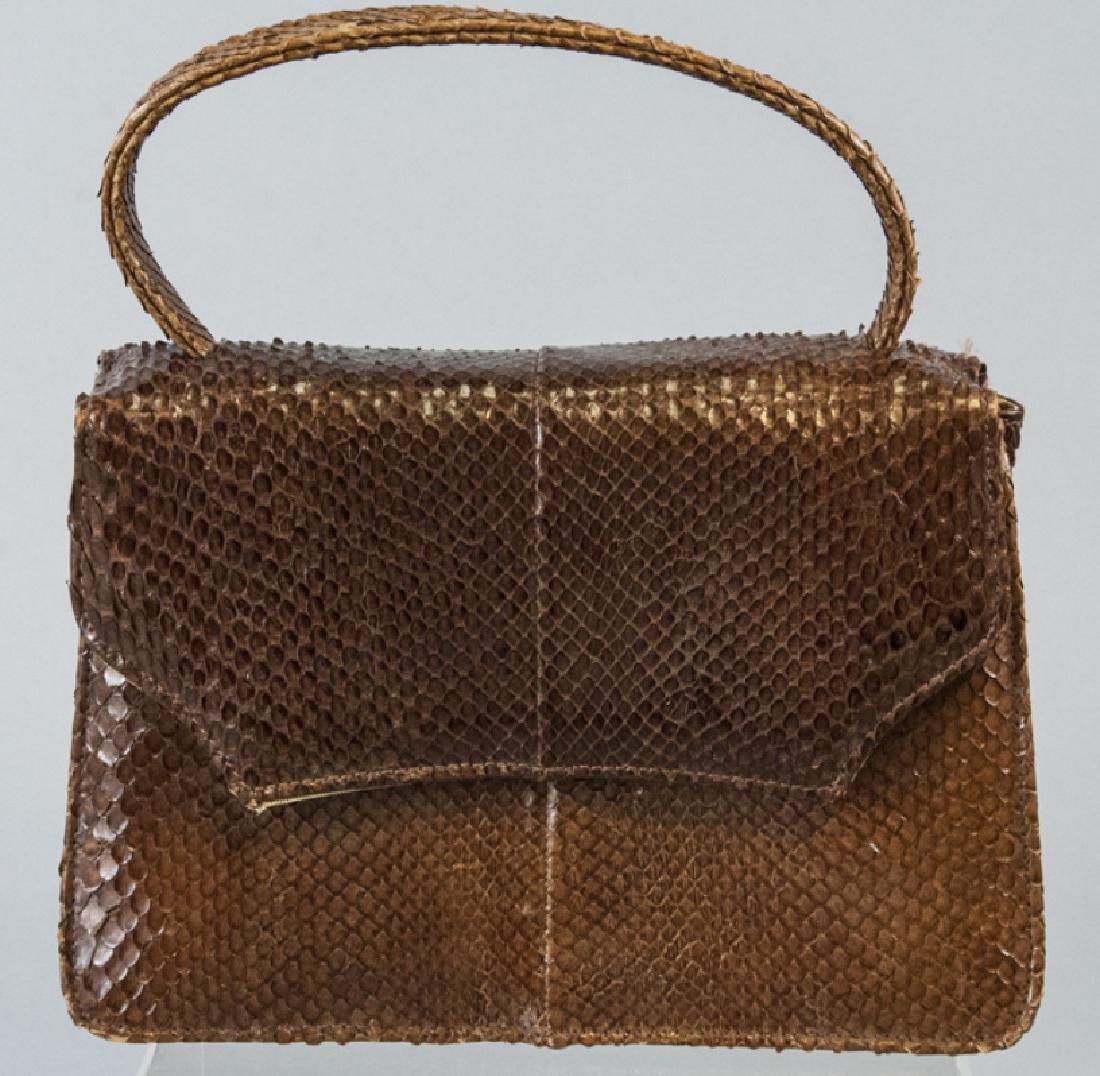 Vintage Snakeskin Silk Lined Purse / Hand Bag
