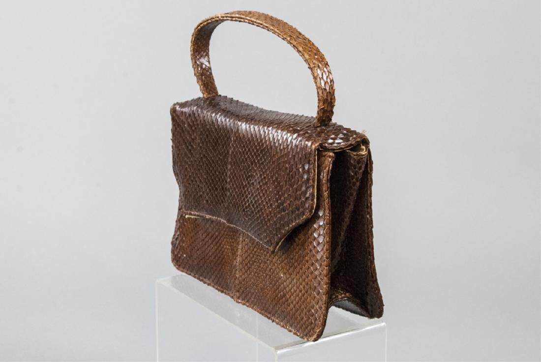 Vintage Snakeskin Silk Lined Purse / Hand Bag - 3