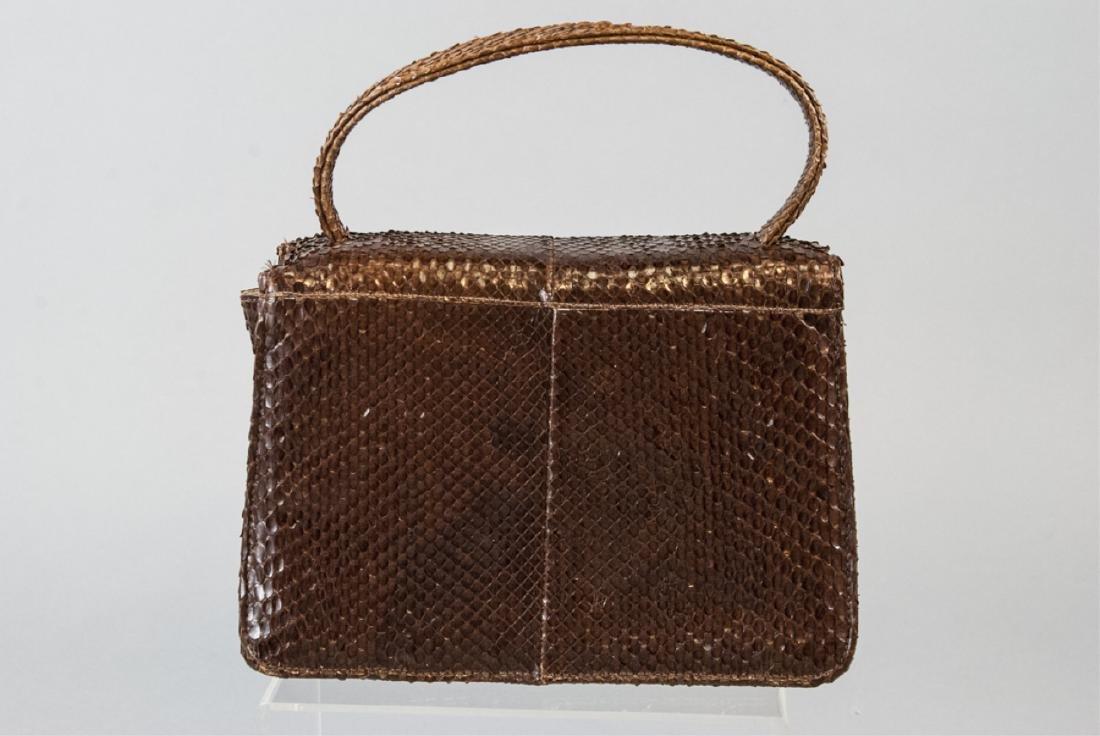Vintage Snakeskin Silk Lined Purse / Hand Bag - 4