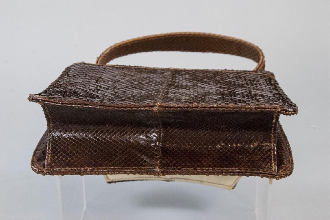 Vintage Snakeskin Silk Lined Purse / Hand Bag - 5