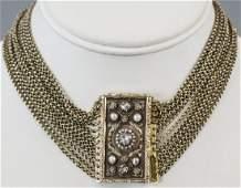 Antique 19th C 18kt Gold & Diamond Choker Necklace