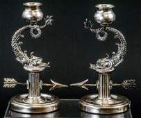 Pair of Faberge Sterling Silver Sea Serpent Candle