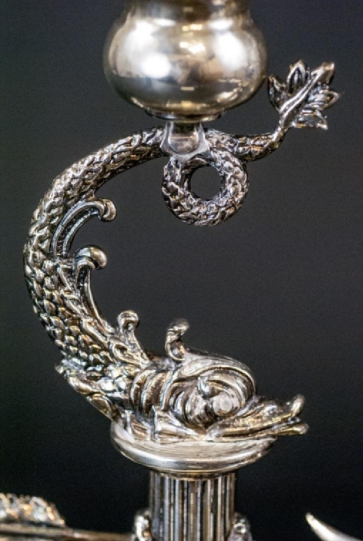 Pair of Faberge Sterling Silver Sea Serpent Candle - 2