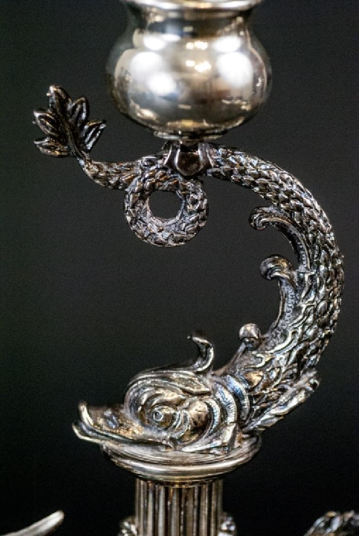 Pair of Faberge Sterling Silver Sea Serpent Candle - 3