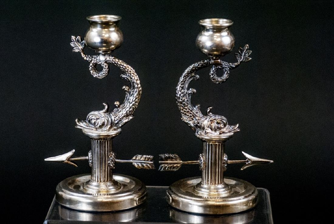 Pair of Faberge Sterling Silver Sea Serpent Candle - 6
