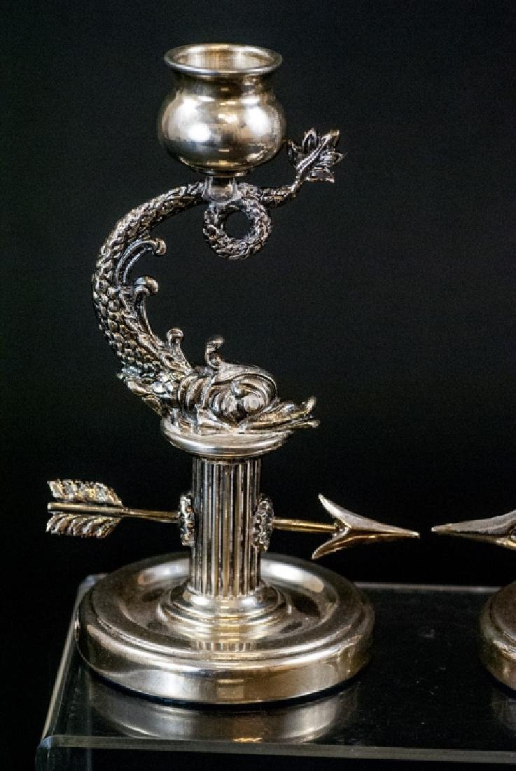 Pair of Faberge Sterling Silver Sea Serpent Candle - 7