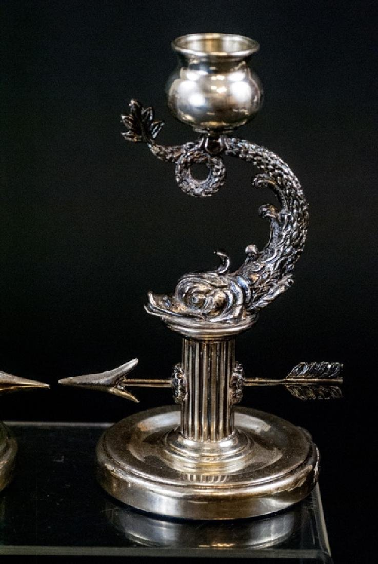 Pair of Faberge Sterling Silver Sea Serpent Candle - 8
