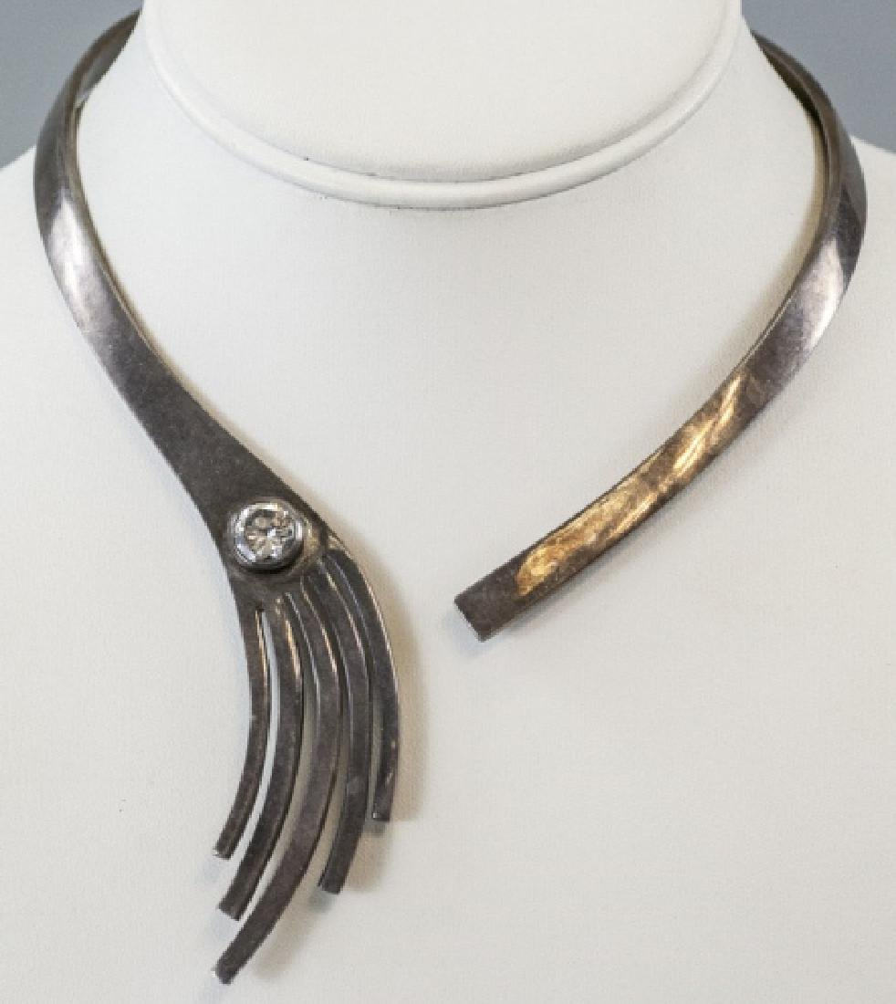 Vintage Modernist Style Sterling Silver Necklace