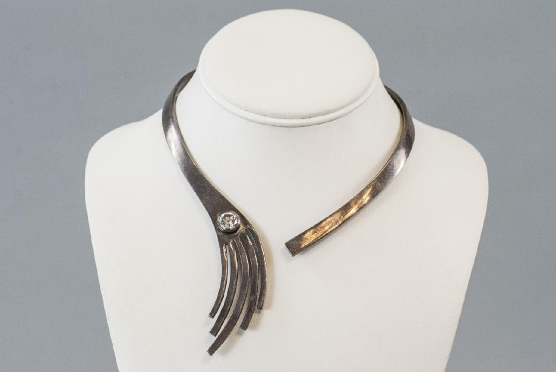 Vintage Modernist Style Sterling Silver Necklace - 8
