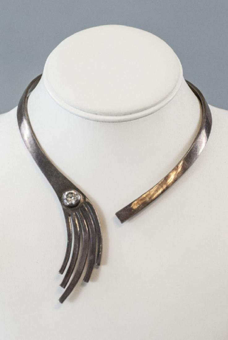 Vintage Modernist Style Sterling Silver Necklace - 9
