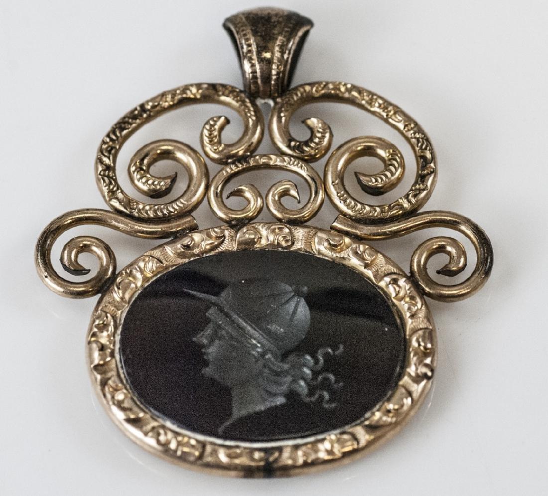 Large Antique 19th C Carved Onyx Intaglio Pendant