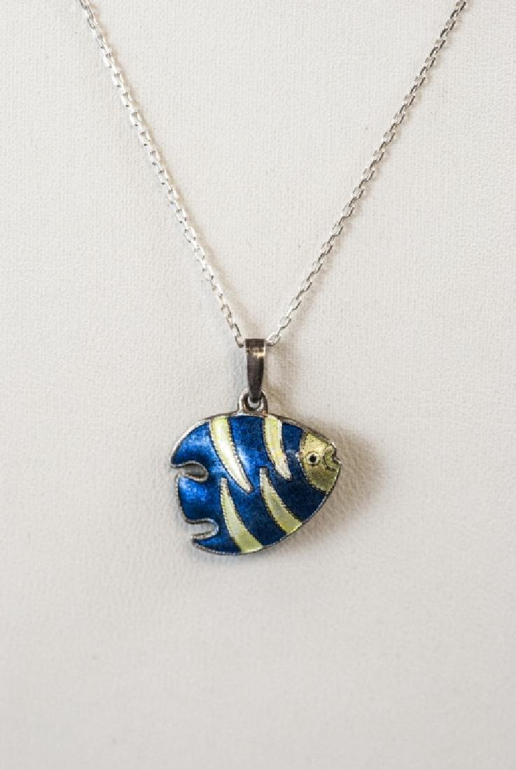 Enamel Fish Necklace Pendant w Sterling Chain