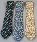 Three Vintage Silk Hermes Paris Men's Ties