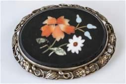 Antique 19th C Sterling Pietra Dura Floral Brooch