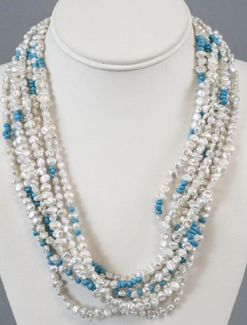 Estate 14k Gold Turquoise & Baroque Pearl Necklace