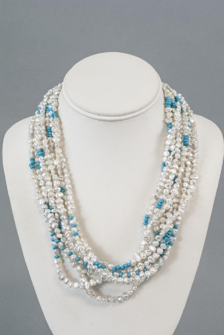 Estate 14k Gold Turquoise & Baroque Pearl Necklace - 2