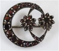 Antique 19th C Garnet Crescent Moon  Flower Pin