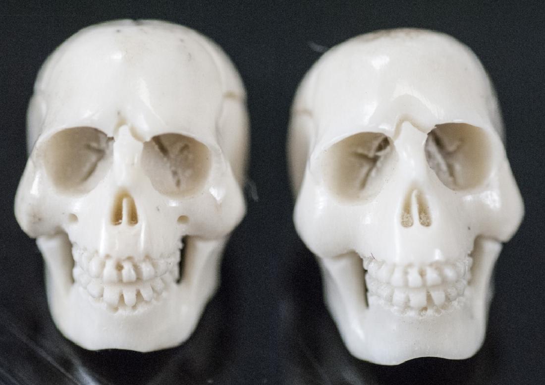 Pair of Memento Mori Carved Bone Human Skulls