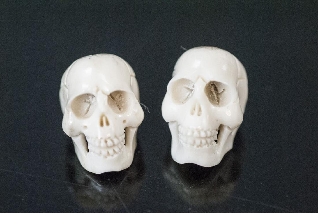 Pair of Memento Mori Carved Bone Human Skulls - 2