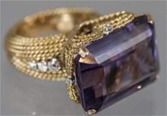Estate 14kt Yellow Gold Amethyst & Diamond Ring