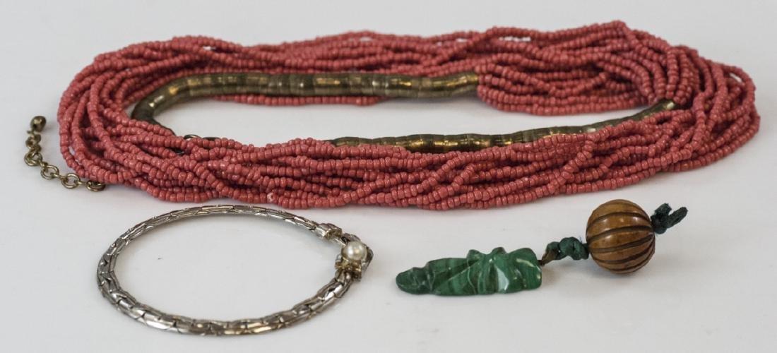 Beaded Necklace, Malachite Pendant & Bracelet