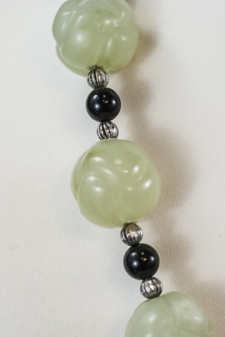 Chinese Necklace & Earrings w Jade & Onyx Beads - 4