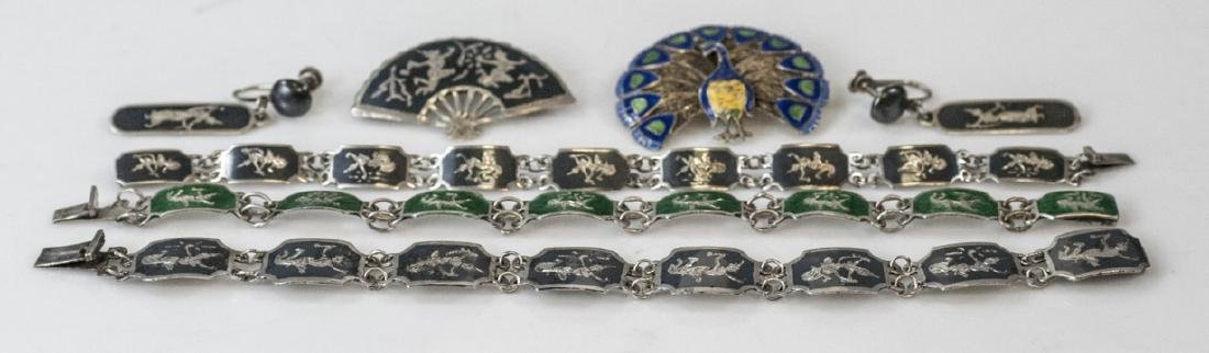 Group Estate Siam Sterling Silver & Enamel Pieces