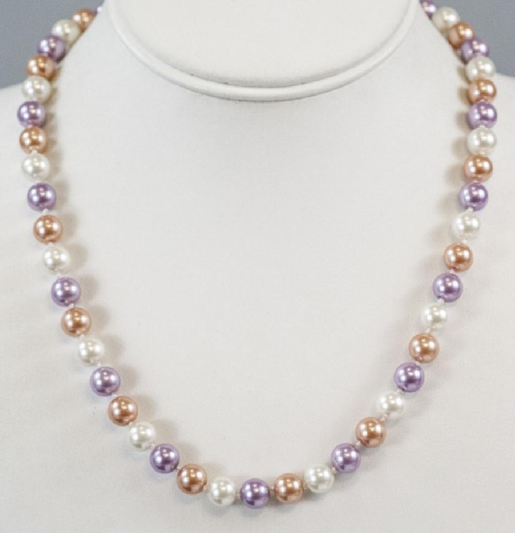 Colored Pearl Hand Knotted Necklace Strand