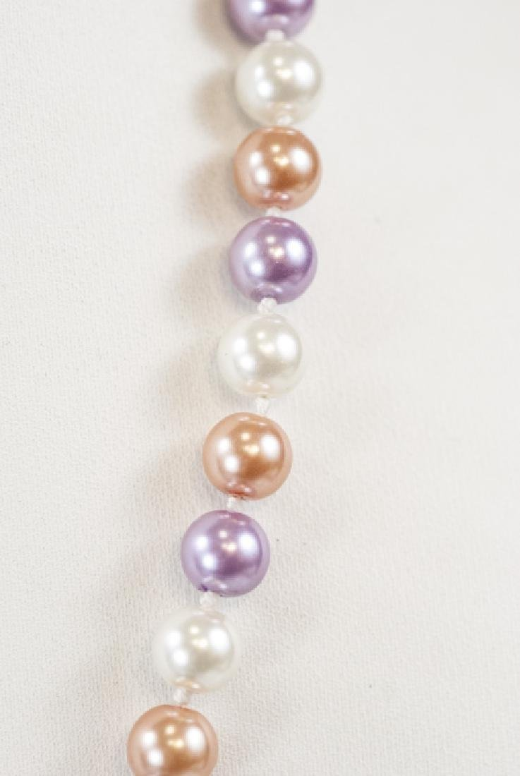 Colored Pearl Hand Knotted Necklace Strand - 3