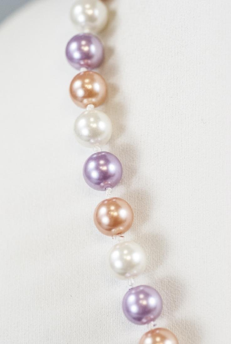 Colored Pearl Hand Knotted Necklace Strand - 4