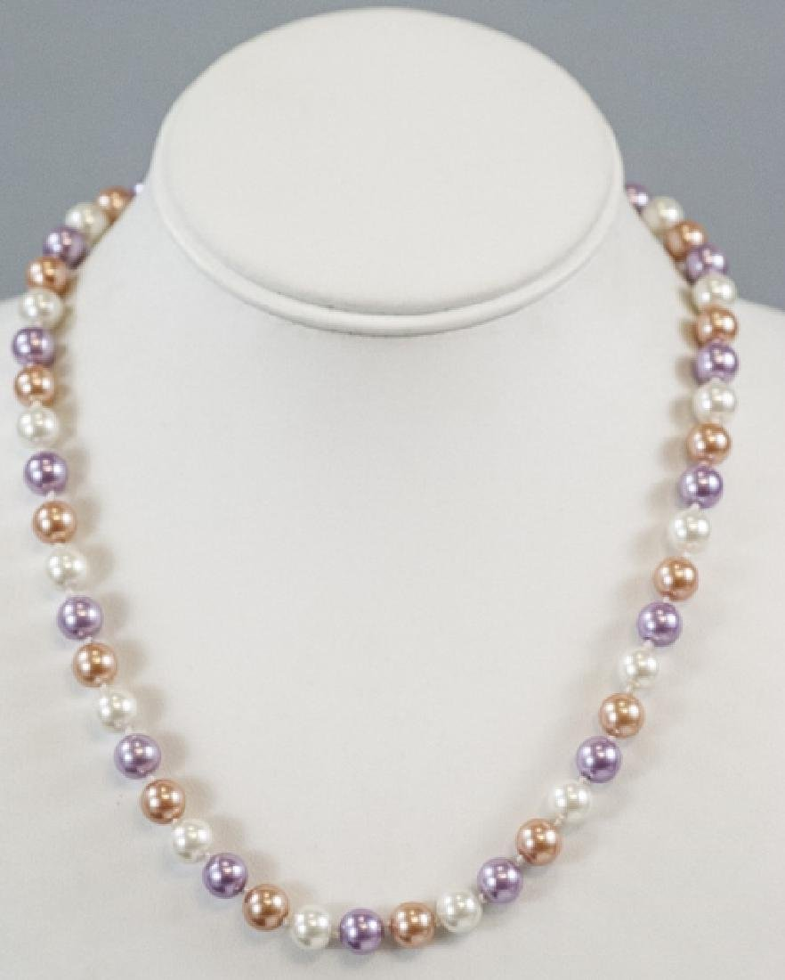 Colored Pearl Hand Knotted Necklace Strand - 6