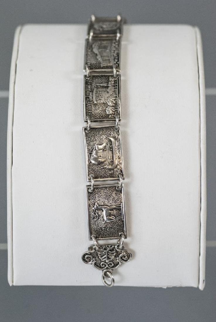 Estate 800 Silver Greco-Roman Vignette Bracelet - 2