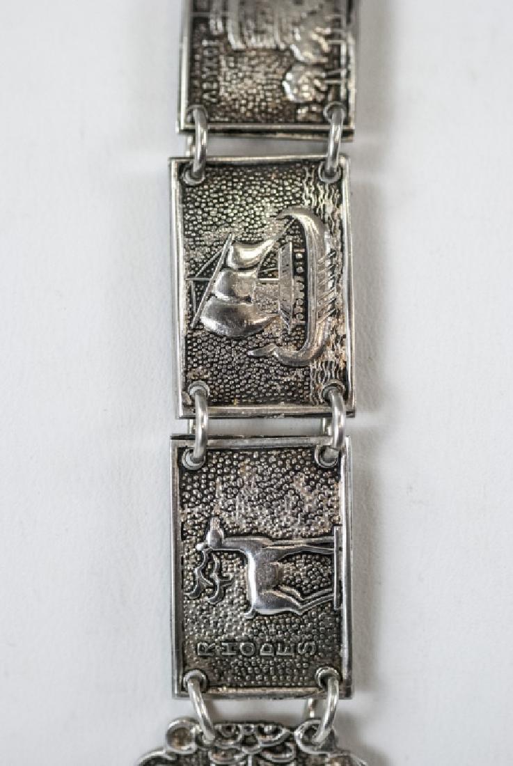 Estate 800 Silver Greco-Roman Vignette Bracelet - 3