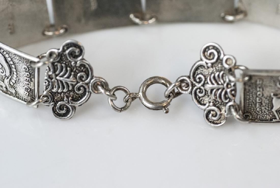Estate 800 Silver Greco-Roman Vignette Bracelet - 6