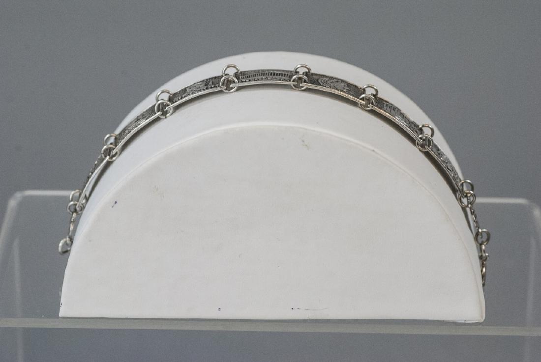 Estate 800 Silver Greco-Roman Vignette Bracelet - 7