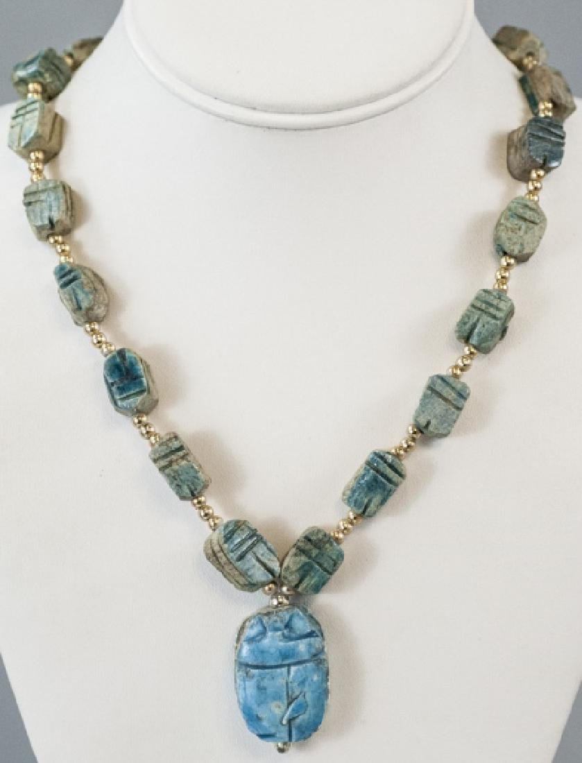 Egyptian Revival Scarab Bead & Pendant Necklace