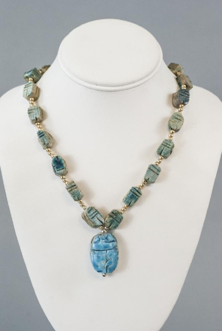 Egyptian Revival Scarab Bead & Pendant Necklace - 2