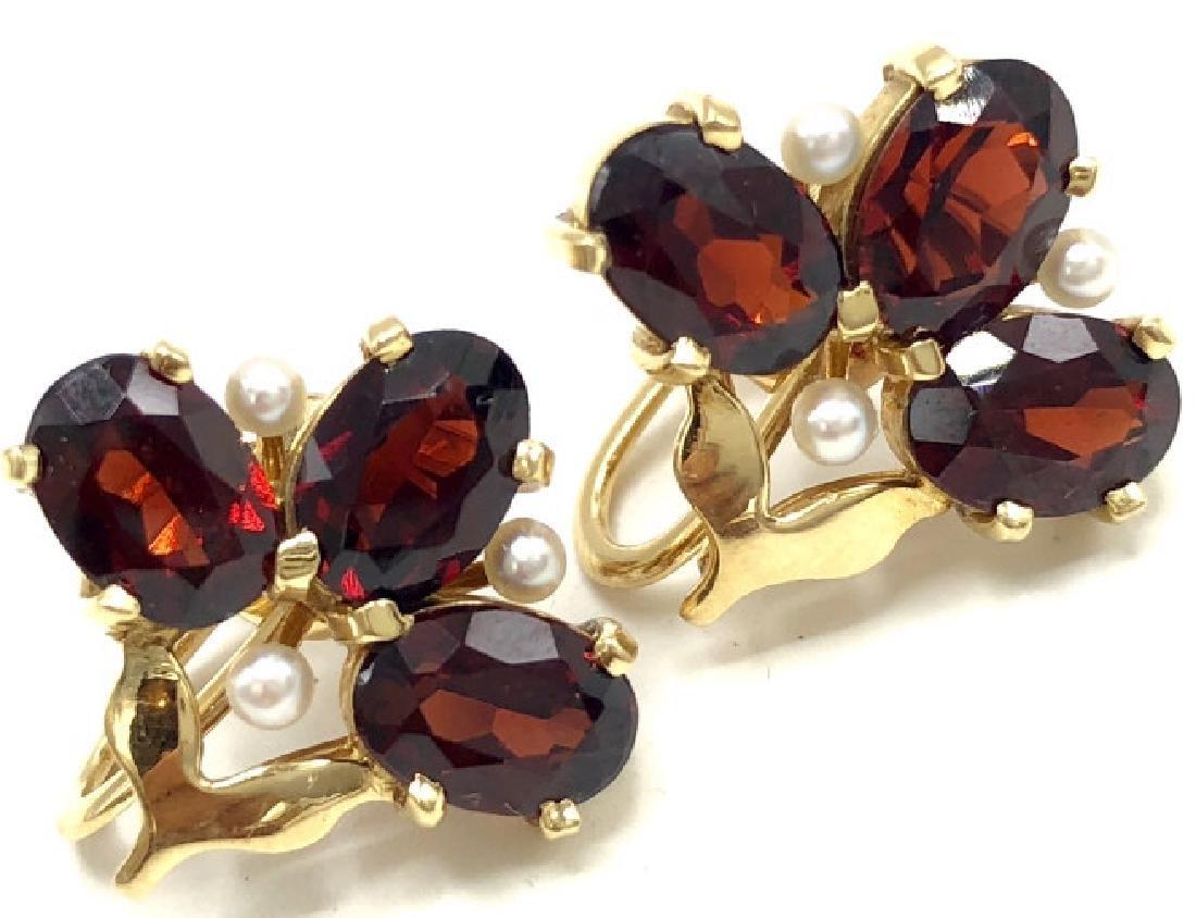 Vintage 14k Gold Garnet & Pearl Earrings