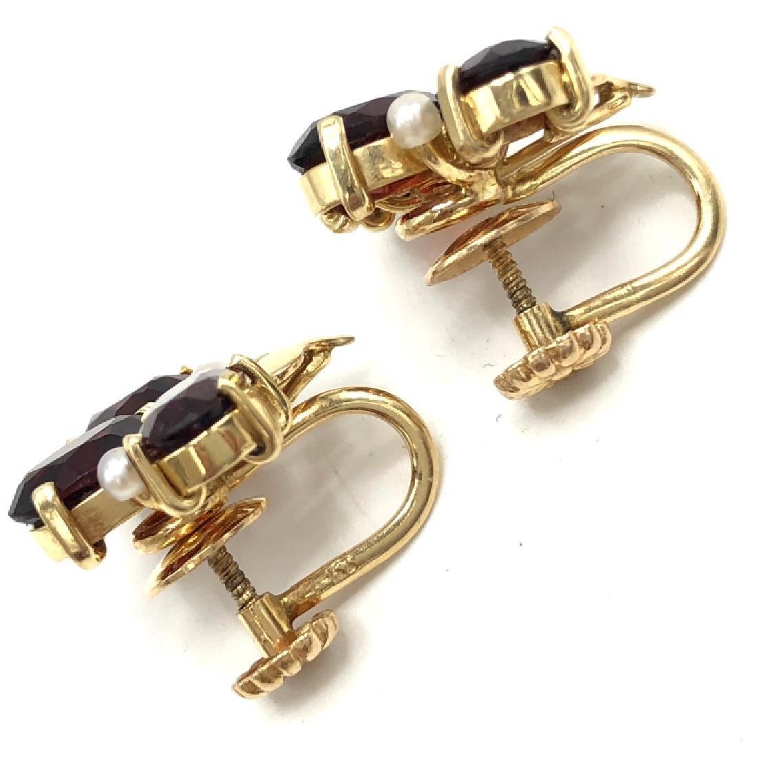 Vintage 14k Gold Garnet & Pearl Earrings - 2