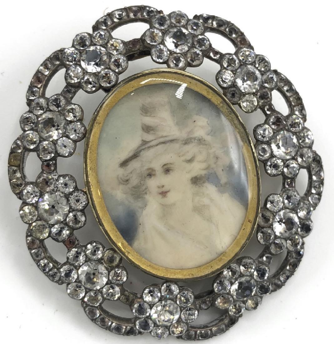 Georgian / Victorian Paste Mourning Pin W Portrait