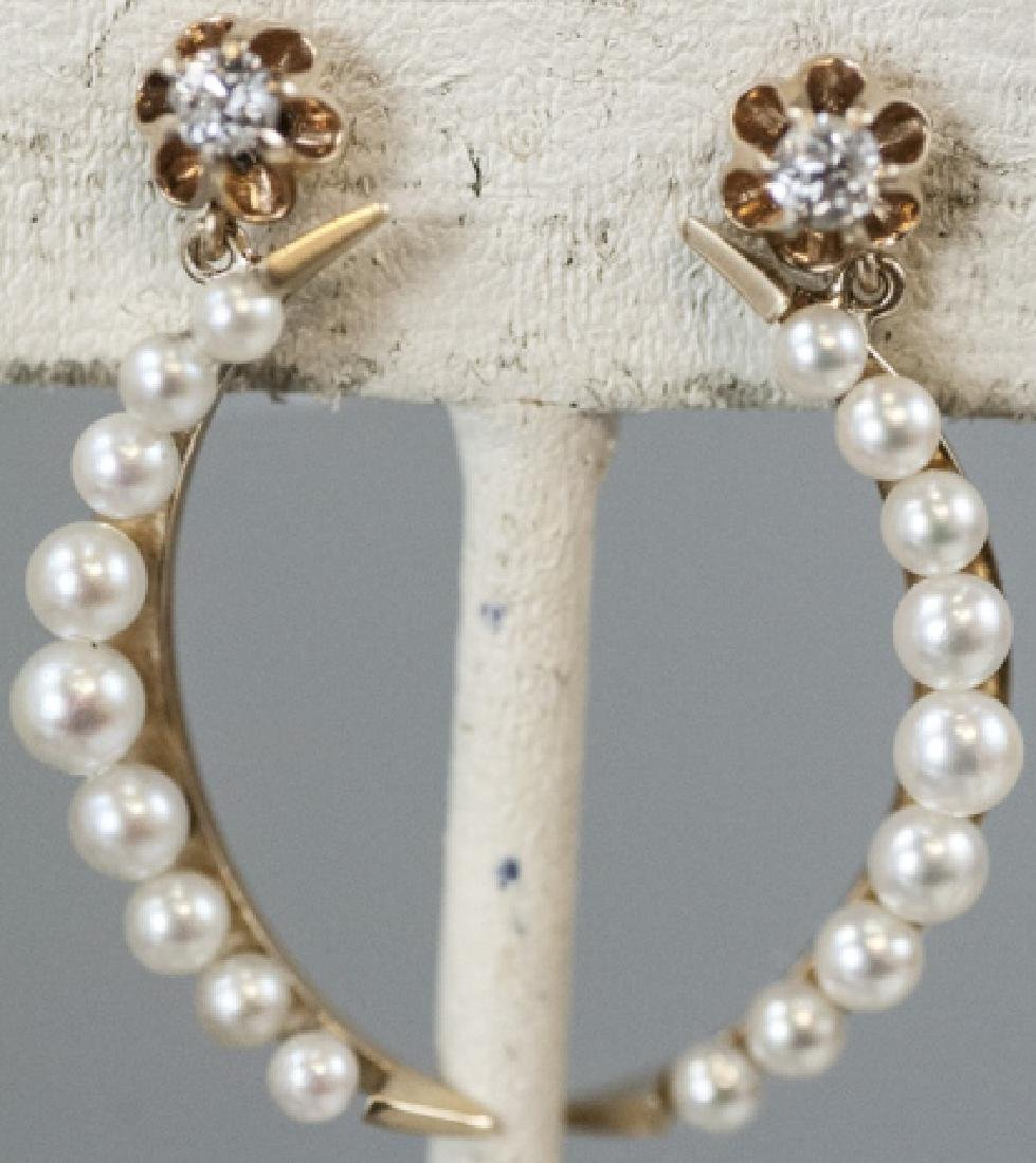 Pair Estate 14kt Gold & Pearl Crescent Earrings
