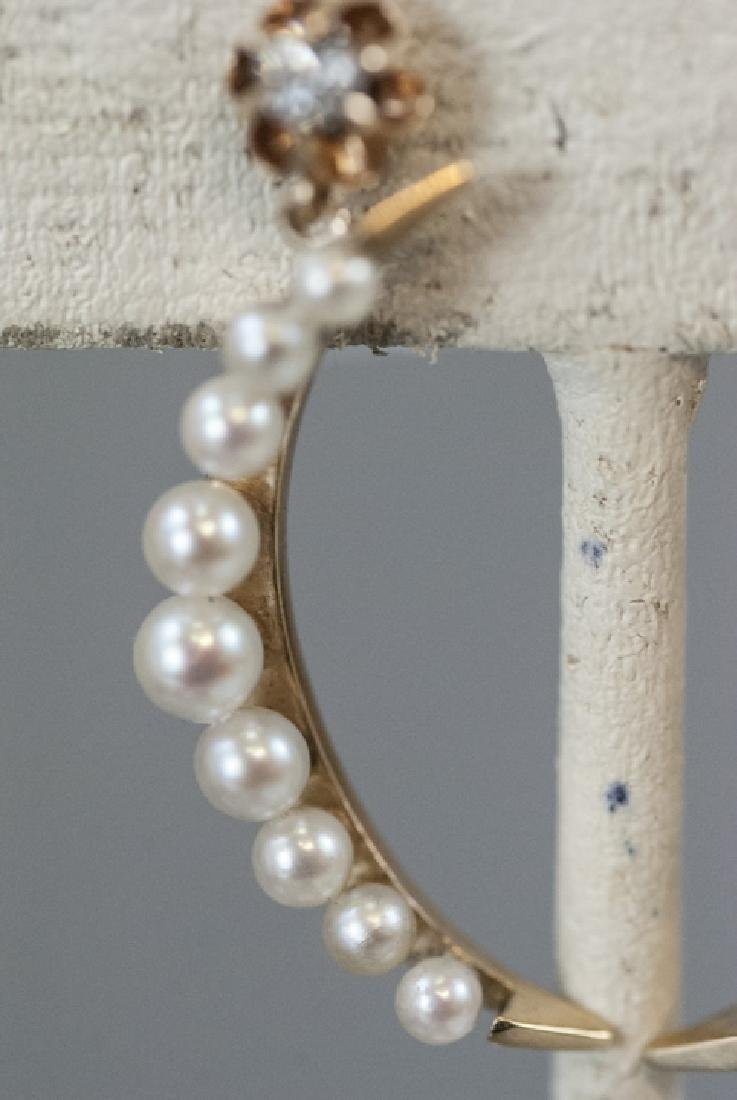 Pair Estate 14kt Gold & Pearl Crescent Earrings - 2
