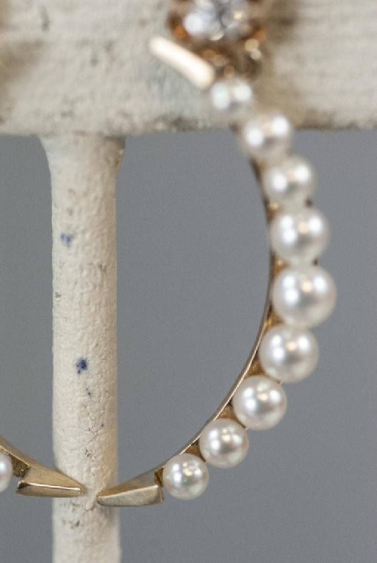 Pair Estate 14kt Gold & Pearl Crescent Earrings - 3