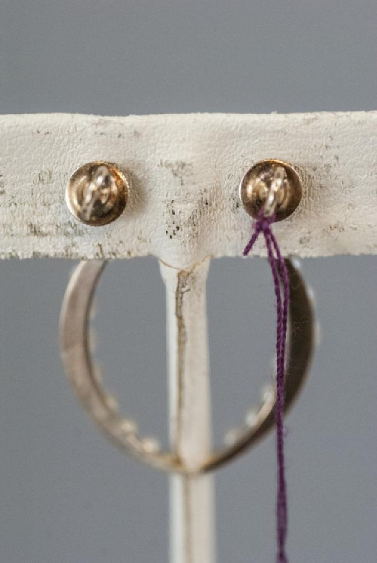 Pair Estate 14kt Gold & Pearl Crescent Earrings - 5