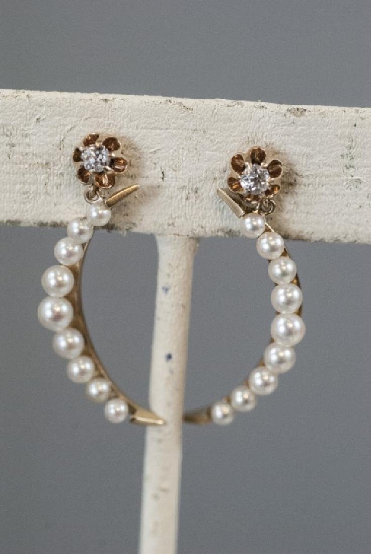 Pair Estate 14kt Gold & Pearl Crescent Earrings - 7