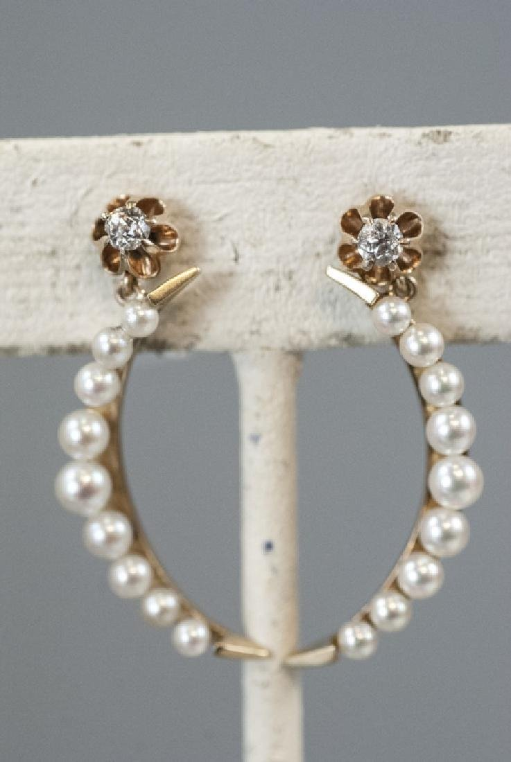 Pair Estate 14kt Gold & Pearl Crescent Earrings - 8
