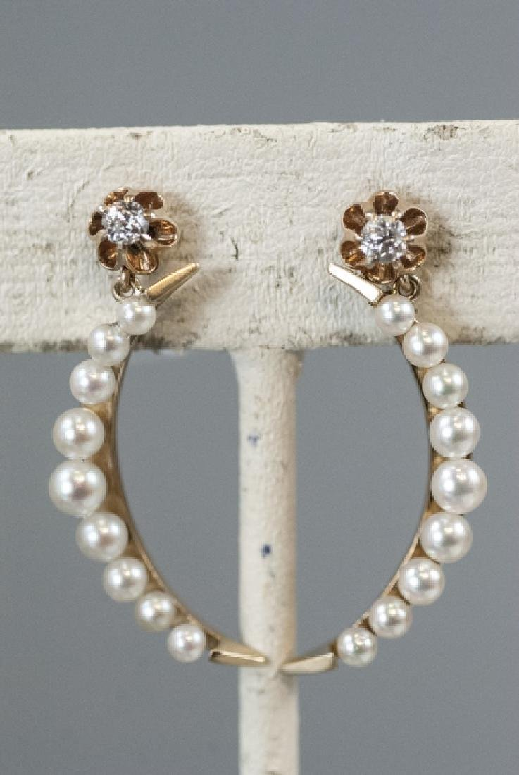 Pair Estate 14kt Gold & Pearl Crescent Earrings - 9