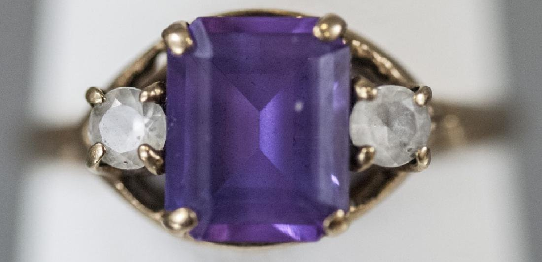 Estate / Antique 10kt Yellow Gold Ring w Amethyst