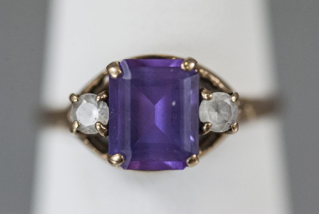 Estate / Antique 10kt Yellow Gold Ring w Amethyst - 2